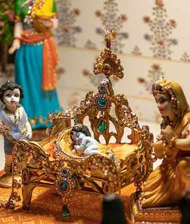 krishnas birthday diorama scene pastime from krishnas life janmashtami brisbane